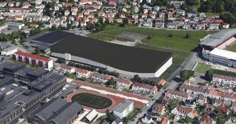 Kolossen på denne skissen kan inneholde en håndballarena med tre treningsflater, som gjøres om til en elitearena med plass til 4000 tilskuere for eksempelvis Fyllingen Bergen. Ved siden av rommer den en innendørs fotballbane i full størrelse, etter Branns ønsker. .