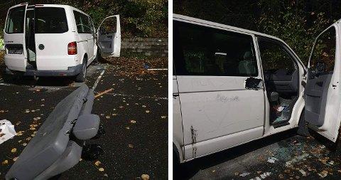 MYE HÆRVERK: Den hensatte bilen er utsatt for mye hærverk. Seter er dratt ut og ruter er knust – blant annet.