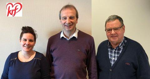 TREKLØVER: Aud Norunn Vig, Gustav Johan Nydal og Dag Almenning er topp tre på Kinn KrF si ferske nominasjonsliste framfor haustens kommuneval.