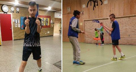 FANTASTISK: Legene sa han aldri ville kunne gå eller snakke. Til venstre og til høyre med briller ser vi Leo Dale Andreassen (12) sammen med andre på innebandy-trening i gymsalen på Lande skole.