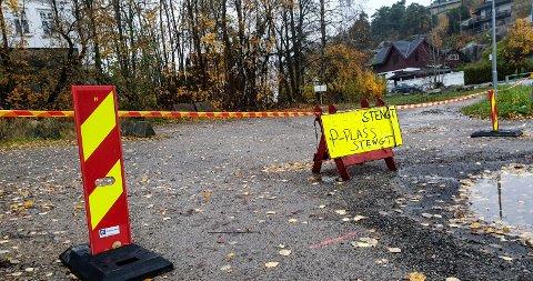 Bilplasser: Her kommer innfartsparkeringen på Kråkerøy, bak Shellstasjonen. Det er uvisst når den stå ferdig.