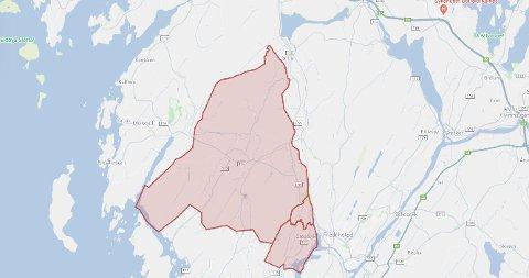 Beboerne innenfor dette røde feltet på kartet er rammet av strømbrudd onsdag kveld.