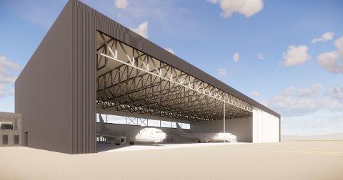 Illustrasjon av ny hangar for militære overvåkningsfly P-8.