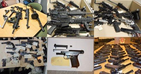 STORT OMFANG: «Operasjon Bonanza» har et stort omfang når det gjelder beslag og involverte personer. Disse bildene viser noen av de beslaglagte våpnene i saken. Foto: Sør-Øst politidistrikt