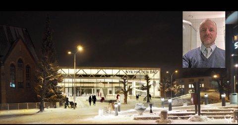 Tegning av forslaget til ny svømmehall i forstudiet. Ingar Orud (innfelt).