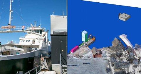 Jondal kai: Ferja MS Samlafjord er for stor for ferjekaien slik den er i dag. Ved dårleg vêr treng den ein dykdalb som støttepunkt. Til høgre er illustrasjon frå Fjord1 på korleis tiltaket vil sjå ut.