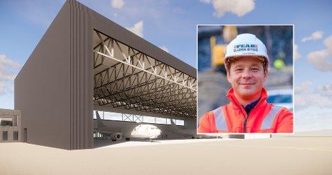 STOR KONTRAKT: Illustrasjon av ny hangar for militære overvåkningsfly P-8. Distriktssjef i Peab Bjørn Bygg Hålogaland, Rune Stenberg, sier til iHarstad at dette er den største kontrakten de har hatt noen sinne.