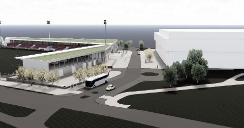 STOR UTBYGGING: Her ser man nye KFUM Arena og Ekeberghallen fra Ekebergveien.