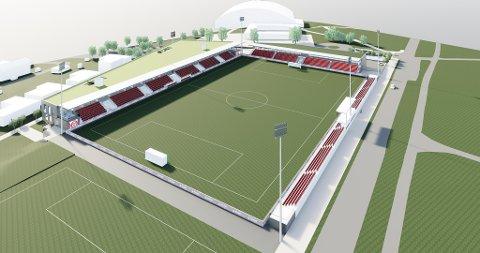 NY STADION: Her er en tegning av KFUM/Oslos nye arena hvor den nye Ekeberghallen skimtes i bakgrunnen.