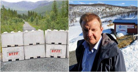 TOK SAKEN I EGNE HENDER: Leder i Tromsø Jeger- og Fiskerforening, Øyvind Hilmarsen, sørget for sperringene ved turveien i Tromsdalen i perioden skytingen vil pågå.