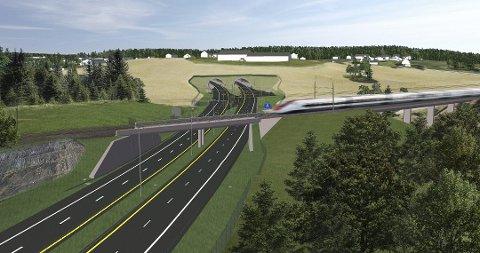 NY E18: Her er illustrasjon av nye E18 ved Holstad.