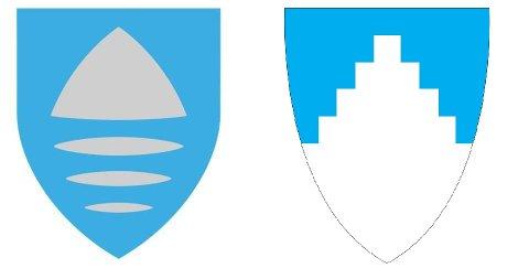 Til venstre: Forslaget til Vikens fylkesvåpen. Gråfargen kan bli byttet ut med hvitt. Til høyre: Akershus' fylkesvåpen.