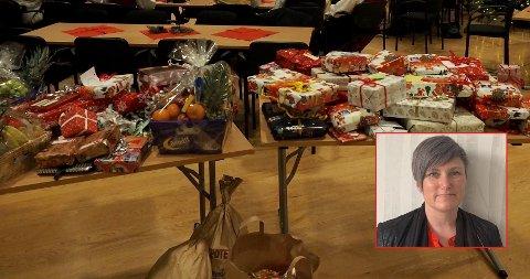 BIDRAR: Leder Sissel Bjørsvik (innfelt) i barnevernstjenesten i Holmestrand kommune bidrar til gaveinnsamlingen til lokale familier i år.