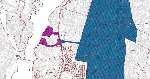 DATA OG BATTERI: Området på Hasle som er under regulering til store datasentre. Nå arbeider kommunen for at området også skal kunne brukes til en batterifabrikk med 2.000 ansatte.