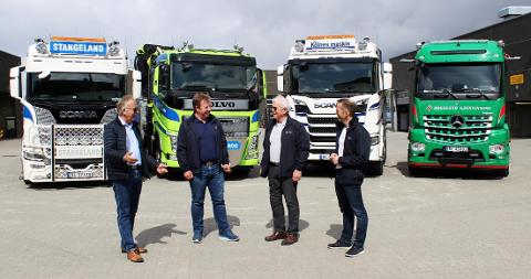 Fra venstre konsernsjef i Stangeland Gruppen, Olav Stangeland, daglig leder i Stangeland Maskin, Tommy Stangeland, finansdirektør Egil Bue og finanssjef Jan Klingsheim.