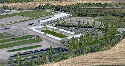 NYE JARLSBERG: Jarlsbergbanen slik den kan bli, sett fra sydvest. Midt på bildet ser vi nye trenerstaller og parkeringsplasser samt ny publikumsplass/tribunelokaler. Målstreken blir flyttet hit.