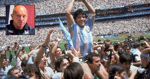MINNES: Nils Johan Semb (innfelt) holder Diego Maradona som en av historiens aller største fotballspillere. Bildet er fra da han ledet Argentina til VM-gull i Mexico i 1986.