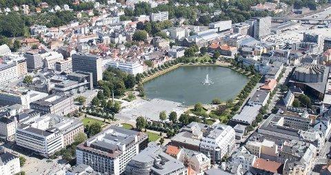 Flyfoto Bergen sentrum Lille Lungegaardsvann