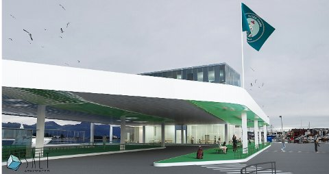 Illustrasjon av den nye terminalen på Fugleskjærskaia.