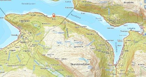 KART: Skarsteinsfjellet ligg mellom Olden og Loen.