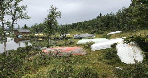 Sameiet som eier dette området ved Furusjøen på Kvamsfjellet vil ha slutt på lagring av båter her. De gir båteierne frist til august med å fjerne båtene.