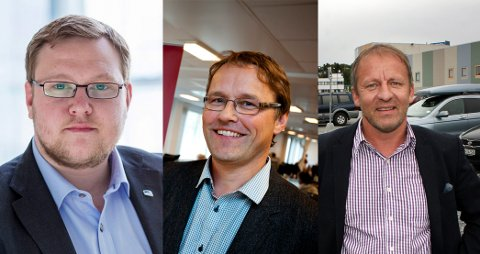 REGJERINGS-KANDIDATER?: Erlend Svardal Bøe (f.v.), Widar Skogan og Geir Inge Sivertsen kan være kandidater til å gå inn i regjeringen etter Frps exit. Foto: Arkiv