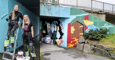 STØTTE: I sommer startet Gunnhild Pettersen Søndenaa (t.h.) og Frøydis Søndenaa å male undergangen på nye Øybrua på eget initiativ. Nå har de fått støtte fra kommunen.