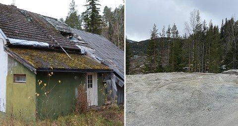 SOLGT: Etter flere års forfall kjøpte Nore og Uvdal kommune huset i Syljerudvegen og rev det. I dag (til høyre) er det bare tomten igjen og nå er den solgt.