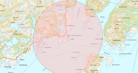 Dronesone: Droneflyging over hele dette Svolvær-området  er forbudt, og det vil ikke bli gitt dispensasjoner her for andre enn de med dronelisens fra Luftfartsverket.
