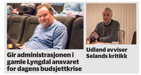 FAKSIMILE: Oppslagene i Lyngdals Avis om diskusjonen mellom Tønnes Seland og Norman Udland.