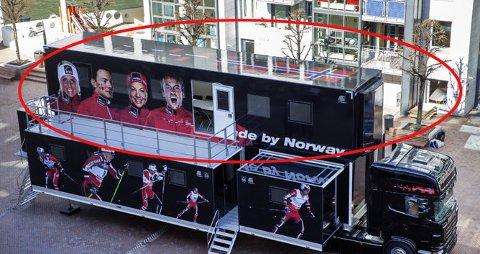 HER SKJER DET: I 2. etasje på den norske smøretraileren tar norske utøvere i bruk forstøverapparater i forbindelse med konkurranser. Foto: Erlend Aas / NTB scanpix