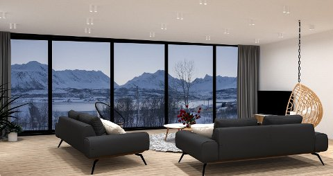 ALPEUTSIKT: Eiendommen har utsikt mot Lyngsalpene. Store vindusflater sikrer utsynet.