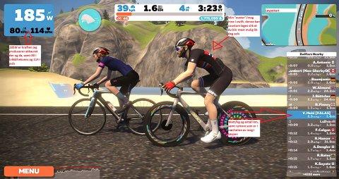 AVATAR: Slik kan det se ut når Vidar Mehl er ute og sykler i Zwift. Her er han med sitt oppsett på sykkel, drakt, hjelm, sokker, sko osv.  - men alt kan endres og tilpasses etter eget ønske. Vidar har selv lagt inn tekst som forklarer grafikken.