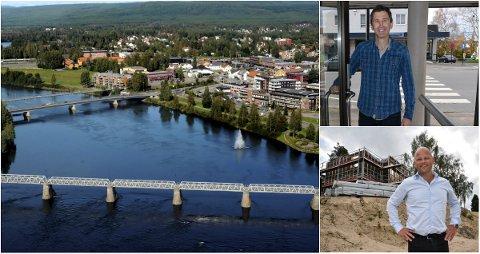 ØKT MYE: Jan Martin Rønes i Eiendomsmegler 1 og Espen Strøm i Aktiv Eiendomsmegling har sett boligprisene i Elverum øke mye gjennom årene.