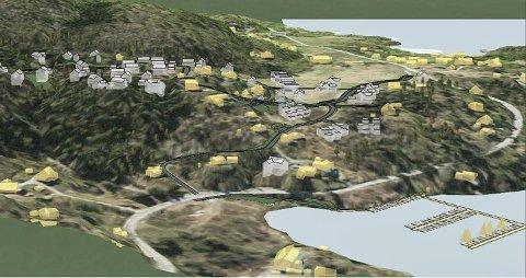 BYGGEPROSJEKT: Dette er en av skissene utbygger har lagt fram for Solbakkmoen. Prosjektet ligger an til å bli en prøvestein på hva det er mulig å få til av boligutbygging i Bergsbygda, uten vesentlig mer økonomisk bidrag til veiutbedring fra fylkeskommunen.