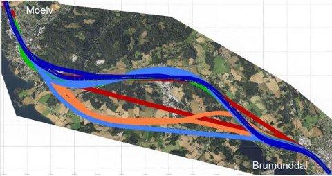 FLERE TRASEER: Bane Nor vurderer flere ulike traseer for jernbanen mellom Brumunddal og Moelv. ILLUSTRASJON: Bane Nor