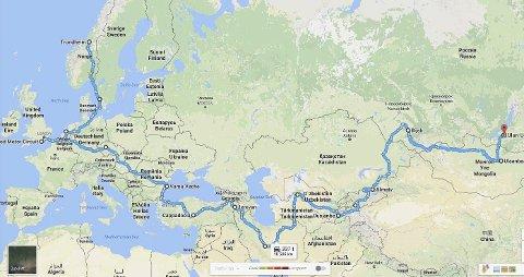 LANG Tur: Turen starter i Trondheim og går videre til England hvor den offisielle starten av Mongol Rally går den 15. juli. Jentene skal kjøre over 18.000 kilometer på to måneder.Skjermdump: Google maps