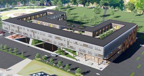 STORE PLANER: Gokstad Akademiet ønsker å bygge et kunnskapssenter på 15.000 kvadratmeter på Tivolitomta. (Illustrasjon: Spir Arkitekter)