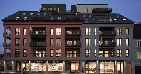 NY FASADE: Dagens Dokkenbygg forsvinner, og erstattes av denne bolig- og næringsblokka på seks etasjer. (Illustrasjon: Rift/Kvartal 19 Arkitekter)