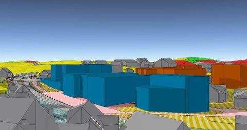 De blå klossene er kommunens byggeprosjekter i Tananger sentrum langs ringveien. Lengst til venstre er et kombinert næring/bolig-bygg på gamle bussgarasjetomten. Ved siden av ligger det planlagte kultursenteret, like overfor kaien.