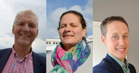Styreleder Jan Ole Mellby (fra venstre), nestleder Anne Margrethe Solheim Stormo og nytt styremedlem fra område midt, Vegard Nils Smenes fra Averøy.