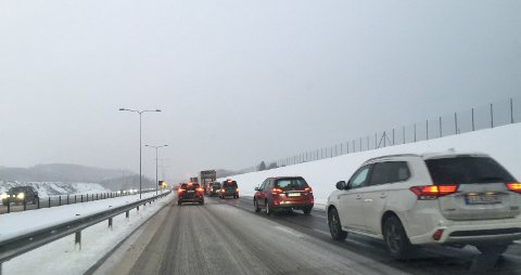 Det er lange køer på E18 i nordgående retning på grunn av ulykken.