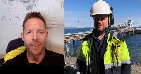 TRIST: John Anders Østmann (37) og Fredrik Breigutu (42) er svært glade i arbeidsplassen sin på Slagentangen. Nå vil de kanskje miste den.