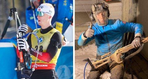 SAMARBEID: Johannes Thingnes Bø trengte å gjøre avgjørende endringer på geværet rett i forkant av VM. Vegard Bjørn Gjermundshaug ble redningsmannen.