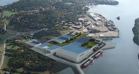 FARSUND: Industriområdet ligger på nordsiden av Lundevågen i Farsund.