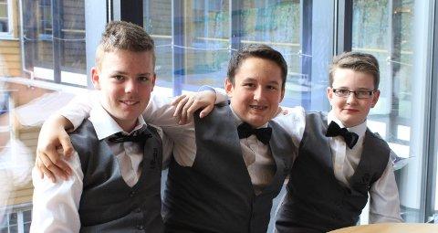 VANN I 2014: Gabriel Sylta Soltveit, Hubert Gregor og Kristoffer B. Antonsen klar for EM for skule-/ungdomskorps i Oastende i Belgia. i Manger skulemusikklag vart europameister i 2014.