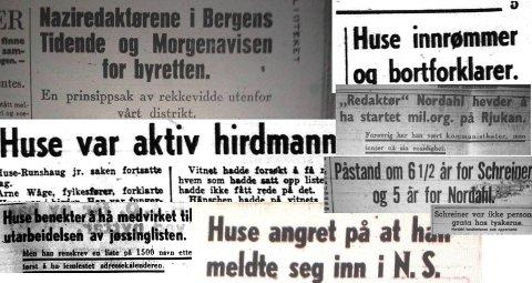 Pressen i Bergen omtalte landssvikoppgjøret mot Huse og naziredaktørene etter krigen.