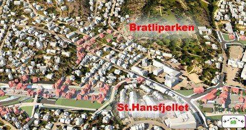 Hvis veien legges under parken: Husene som kan bli revet er tegnet i lyserødt. Dette kan bli konsekvensen av ny jernbane og vei, hvis riksvei 110 legges i tunnel under Bratliparken. (Illustrasjon: Erik Hagen/2G Cowi AS og Multiconsult Norge AS)