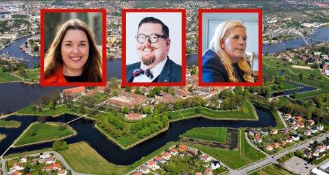 ENIGE: Det skjer ikke ofte, men både Aps Siri Martinsen, Høyres Knut Thomas Hareide Larsen og Frps Anita Vik, er enige om at Forsvarsbygg ikke forvalter sine eiendommer i Gamlebyen godt nok.