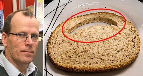 HULL I BRØDET: Tor Johan Hjermstad (56) er blant flere som har lurt på hvorfor det noen gang er store hull i brødene. Nå har han fått svar på spørsmålet.